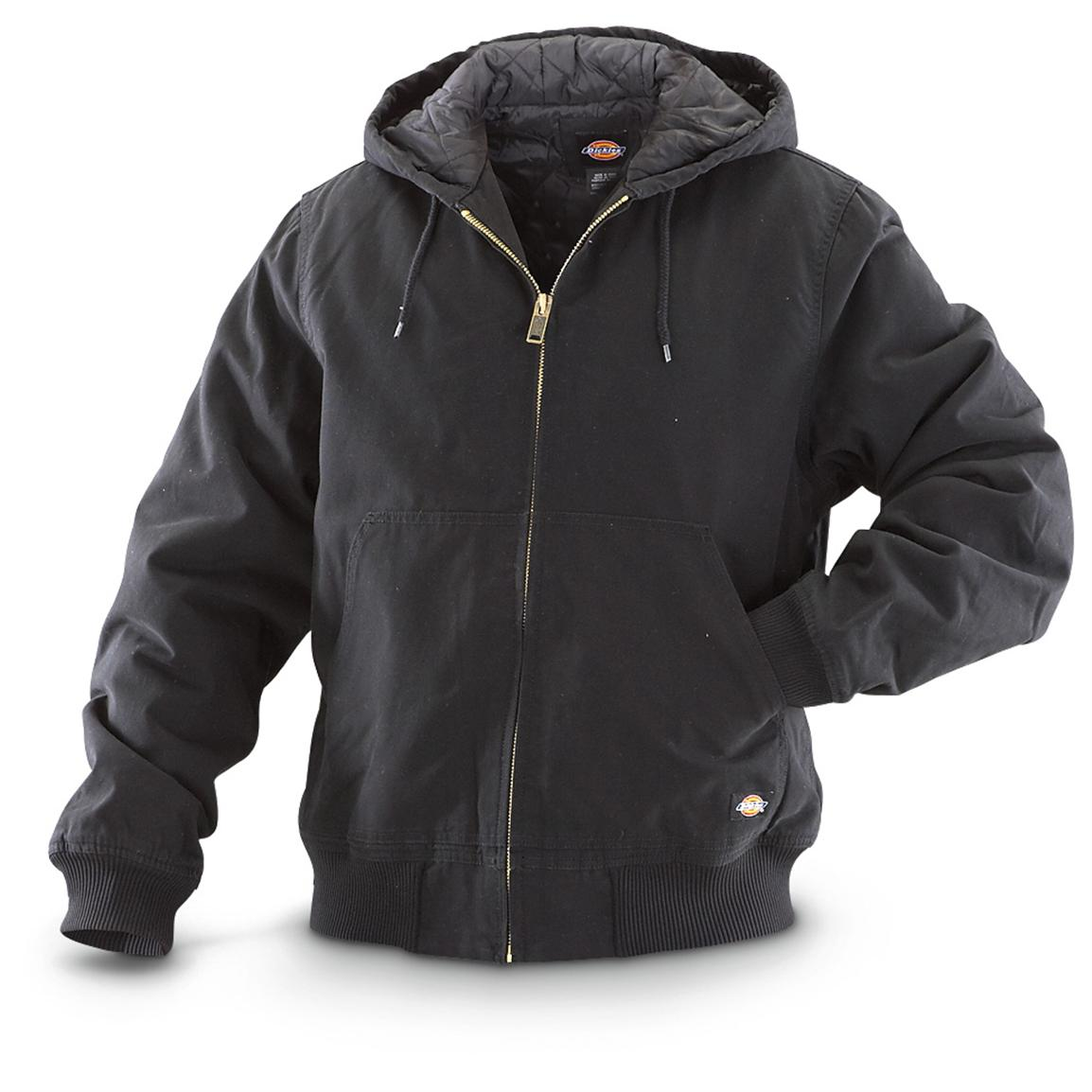 HOODED WORK JACKET , Black