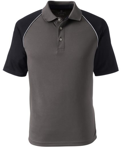 MEN'S PIPED COLORBLOCK ACTIVE POLO, Grey w/ Black Sleeve