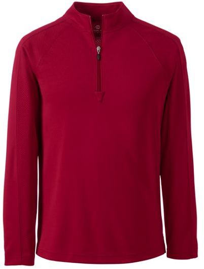MENS LONG SLEEVE HALF ZIP PULLOVER , Red