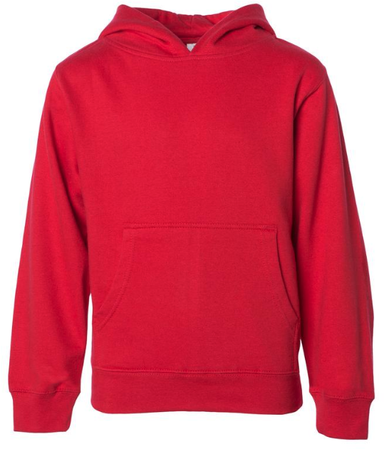 YOUTH PULLOVER HOODED SWEATSHIRT, Red