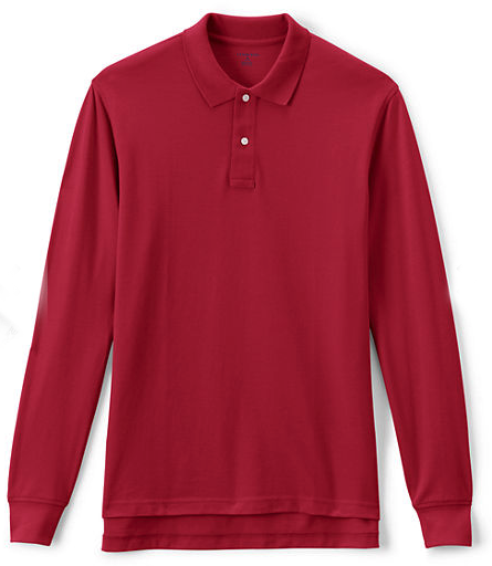 MEN'S LONG SLEEVE MESH POLO, Red