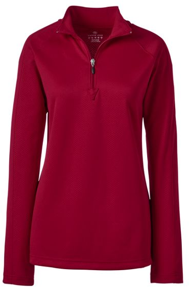 WOMEN'S LONG SLEEVE HALF ZIP PULLOVER, Red